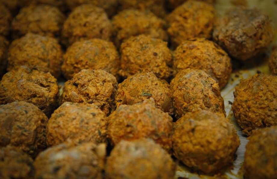 Meatballs await being put in bulgar shells to make Icli Kofte at Tuba. Photo: Russell Yip, The Chronicle