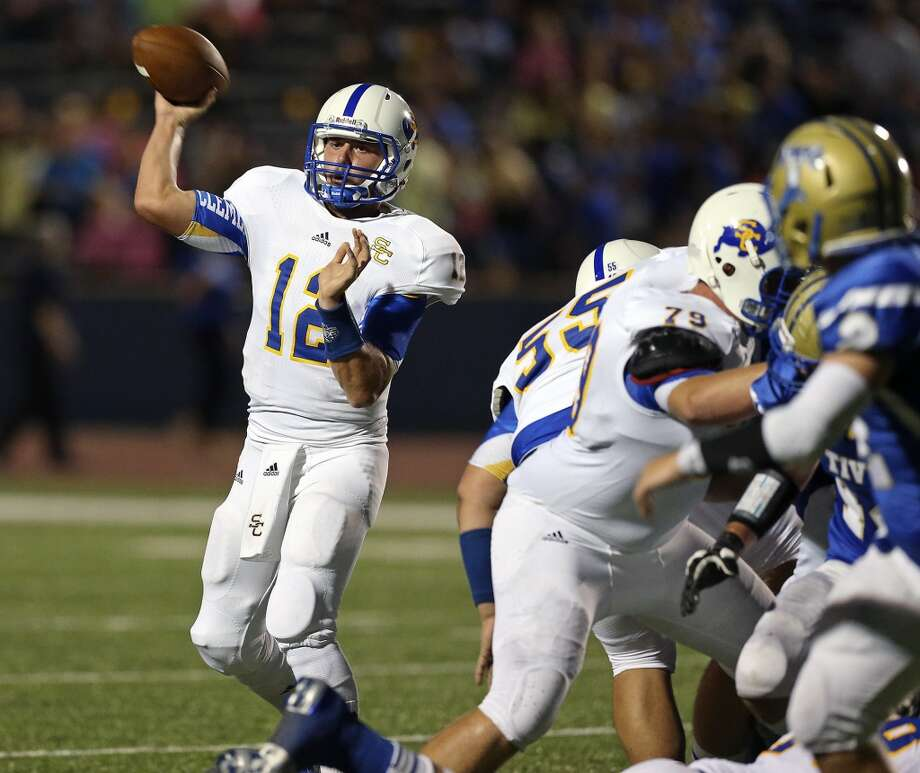 Clemens quarterback JJ Elkins gets plenty of protection as he throws in the first half as Tivy hosts Clemens at Antler Stadium in Kerrville  on September 27, 2013