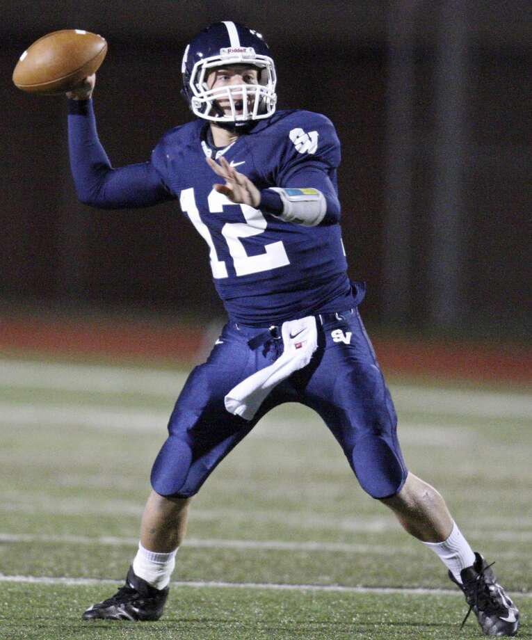 Smithson Valley's Garrett Smith passes against New Braunfels Canyon during first half action Friday Oct. 26, 2012 at Ranger Stadium in Spring Branch, Tx. Photo: San Antonio Express-News