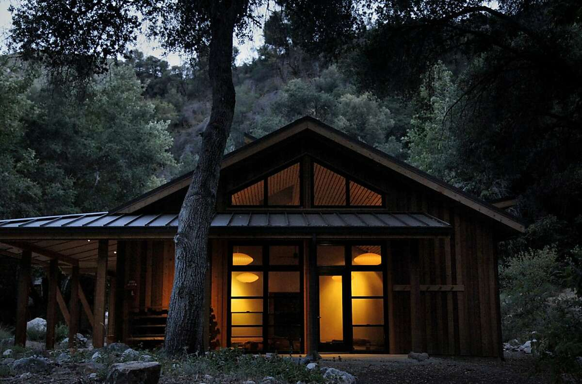 The retreat hall after sunset at Tassajara Zen Mountain Center in Tassajara, Calif., on Friday, May 24, 2013.