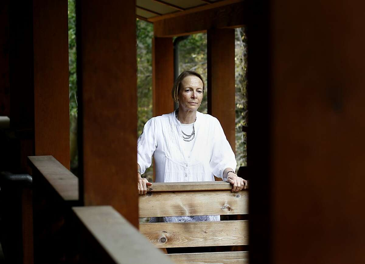 Architect Helen Degenhardt on the staircase of her Passive House - Eco Dorm Monday August 26, 2013. Architect Helen Degenhardt, a specialist in spiritual design, did some of her first work at the Green Gulch meditation hall. She also designed the Passive House on the property.