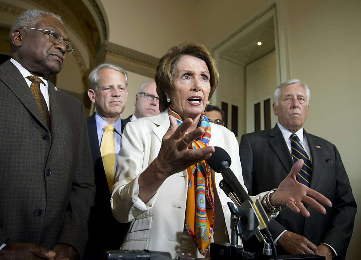 House Minority Leader Nancy Pelosi of Calif., together with the Democratic leadership, gestures while speaking during a news conference on Capitol Hill in Washington, Monday, Sept. 30, 2013, to discuss the budget showdown. From left are, House Assistant Minority Leader James Clyburn of S.C., Rep. Steve Israel, D-N.Y., Pelosi, Rep. Joseph Crowley, D-N.Y., and House Minority Whip Steny Hoyer of Md. Republicans and Democrats blamed each other Monday as they took the federal government to the brink of a shutdown in an intractable budget dispute over President Barack Obama's signature health care law. (AP Photo/Manuel Balce Ceneta)