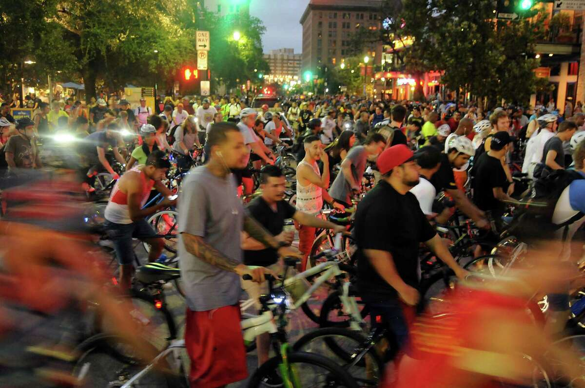 Bikers prepare to leave downtown during the September Critical Mass bike ride.