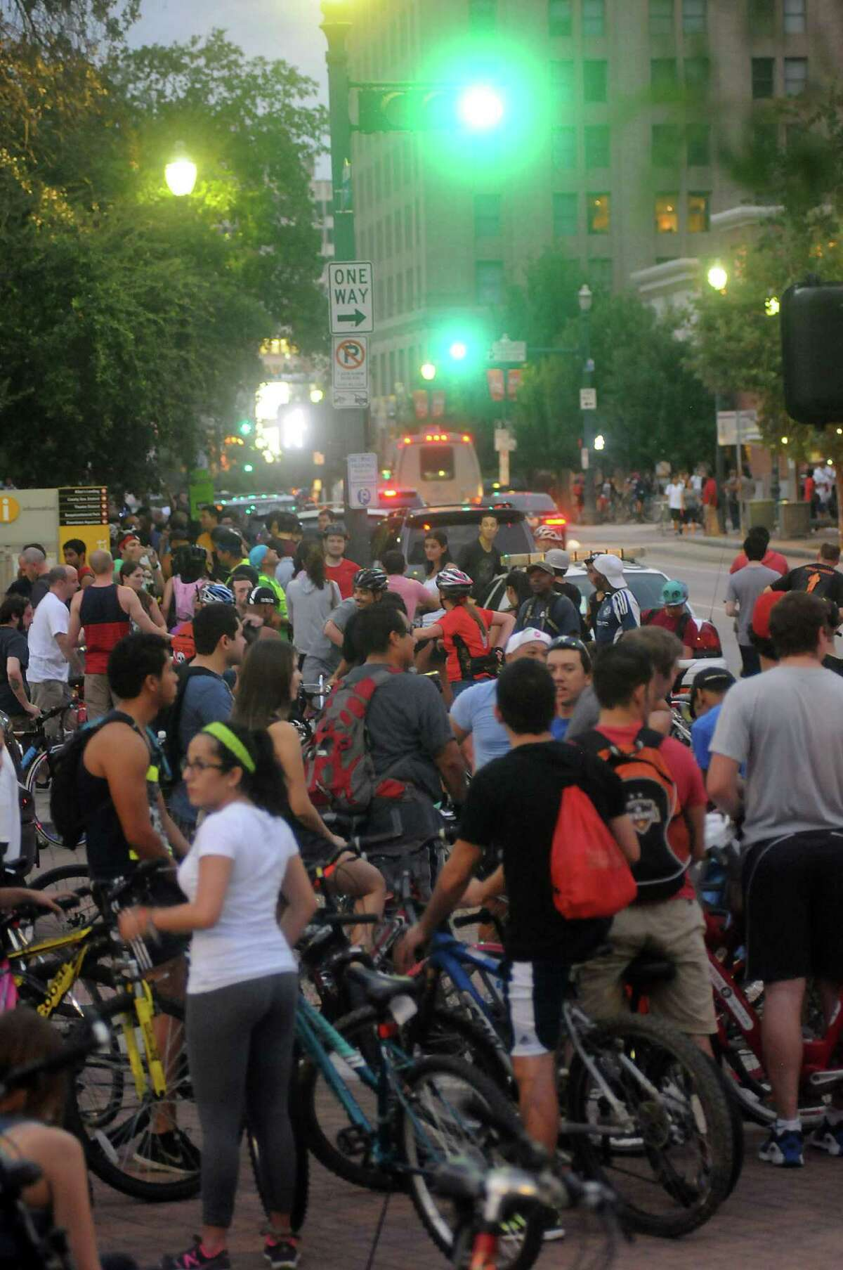 Bikers prepare to leave downtown during the Houston Critical Mass bike rideFriday Sept.27 2013.(Dave Rossman photo)