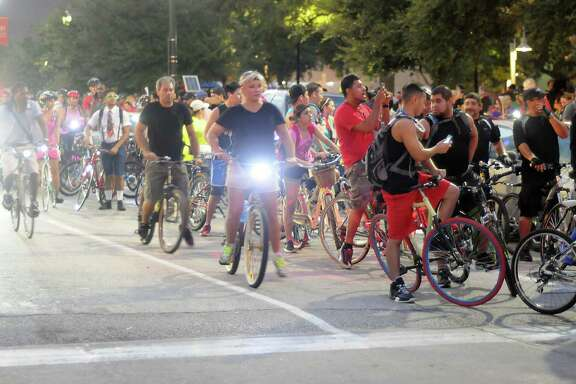 Bikers prepare to leave downtown during the Critical Mass bike ride Sept.27.