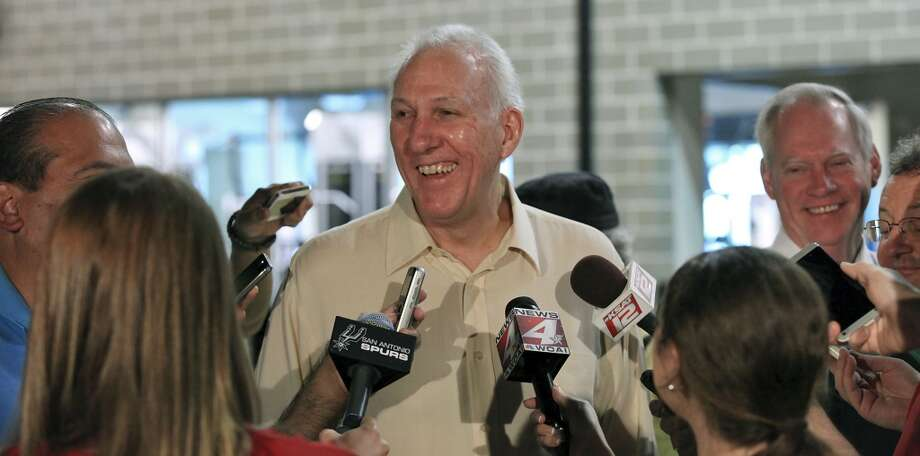 San Antonio Spurs' head coach Gregg Popovich is interviewed during media day Monday Sept. 30, 2013 at the team's practice facility. Photo: Edward A. Ornelas, San Antonio Express-News