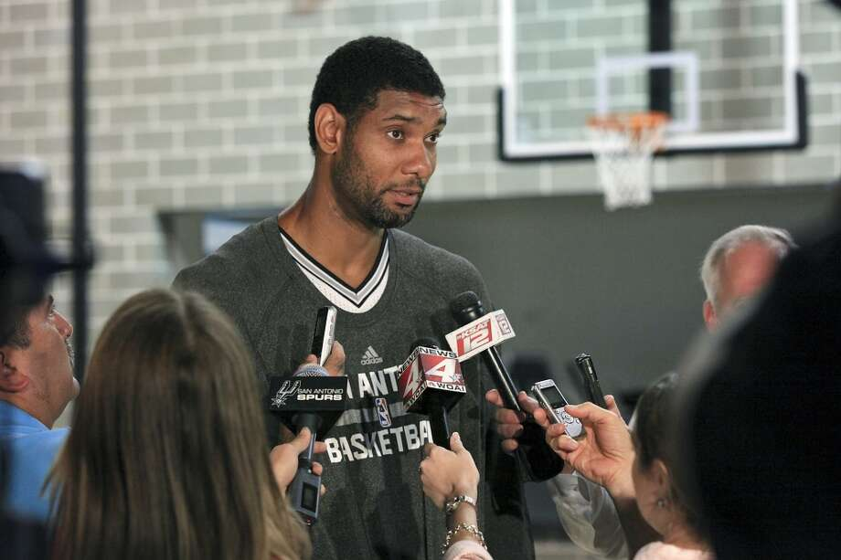 San Antonio Spurs' Tim Duncan is interviewed during media day Monday Sept. 30, 2013 at the team's practice facility. Photo: Edward A. Ornelas, San Antonio Express-News
