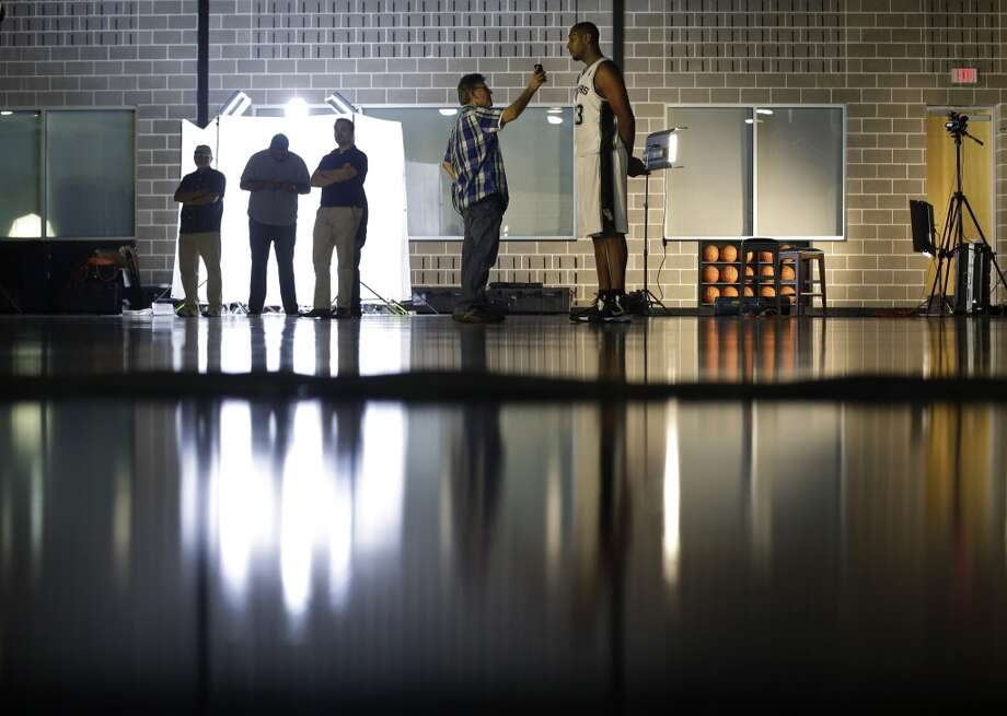 San Antonio Spurs' Boris Diaw, right, of France, is interviewed at the team's workout facility during their NBA basketball media day, Monday, Sept. 30, 2013, in San Antonio. Photo: Eric Gay, Associated Press