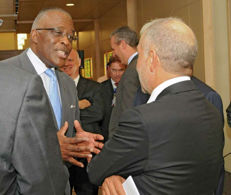 University at Albany President Robert Jones talks to CNSE senior vice president and CEO Dr. Alain Kaloyeros following a press conference Monday Sept. 30, 2013, at Albany Medical Center in Albany, N.Y. (Lori Van Buren / Times Union) Photo: Lori Van Buren / 00024052A