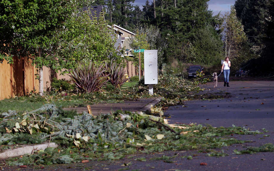 A woman walks her dog through debris-filled streets in the Frederickson neighborhood near Puyallup, Wash., Monday, Sept. 30, 2013. A tornado swept through the area earlier in the day, causing damage to several dozen homes.  Photo: Ted S. Warren, Associated Press / Associated Press