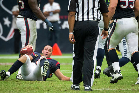 Houston Texans quarterback Matt Schaub gets up after being sacked during the second half of an NFL football game against the Seattle Seahawks on Sunday, Sept. 29, 2013, in Houston. ( Smiley N. Pool / Houston Chronicle )
