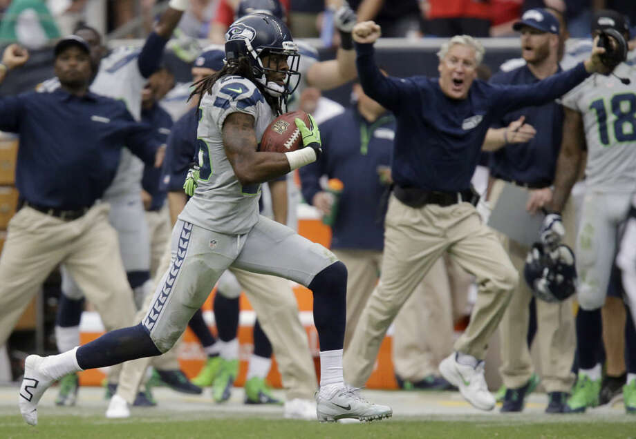 What people are saying about the Seahawks' wild comeback in Houston  The Seahawks continue to be one of the most talked-about teams in the NFL, now that they've surged from a late 14-point deficit in Houston and improved to 4-0 for the first time in franchise history. Football followers can no longer deny there's something special going on in Seattle, and the media coverage of the Seahawks is reflecting that.   For one, star Seattle cornerback Richard Sherman (pictured running back his game-changing pick-six) would be happy to hear that legendary running back Barry Sanders, now a broadcaster on the NFL Network, dropped Sherman's name first -- not as an afterthought or even second, but first -- when rattling off a list of the league's best corners Sunday night. Yet that wasn't the only praise the Seahawks have received after their crazy 23-20 overtime victory over the Texans.  Click through the gallery for a selection of what people are saying about the Seahawks now. Photo: Patric Schneider, Associated Press