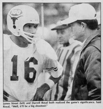 Texas quarterback James Street (16) gets coach Darrell Royal's fourth-and-3 call that paved the way for the top-ranked Longhorns' 15-14 victory over No. 2 Arkansas at Fayetteville on Dec. 6, 1969. Photo: Sam C. Pierson  Jr., HC Staff / Houston Chronicle