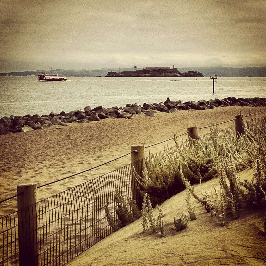 Jessica Jordan Thompson, a resident of the Presidio, took this shot of Alcatraz from the trail at Crissy Field, noting the beautiful and moody clouds of the morning.