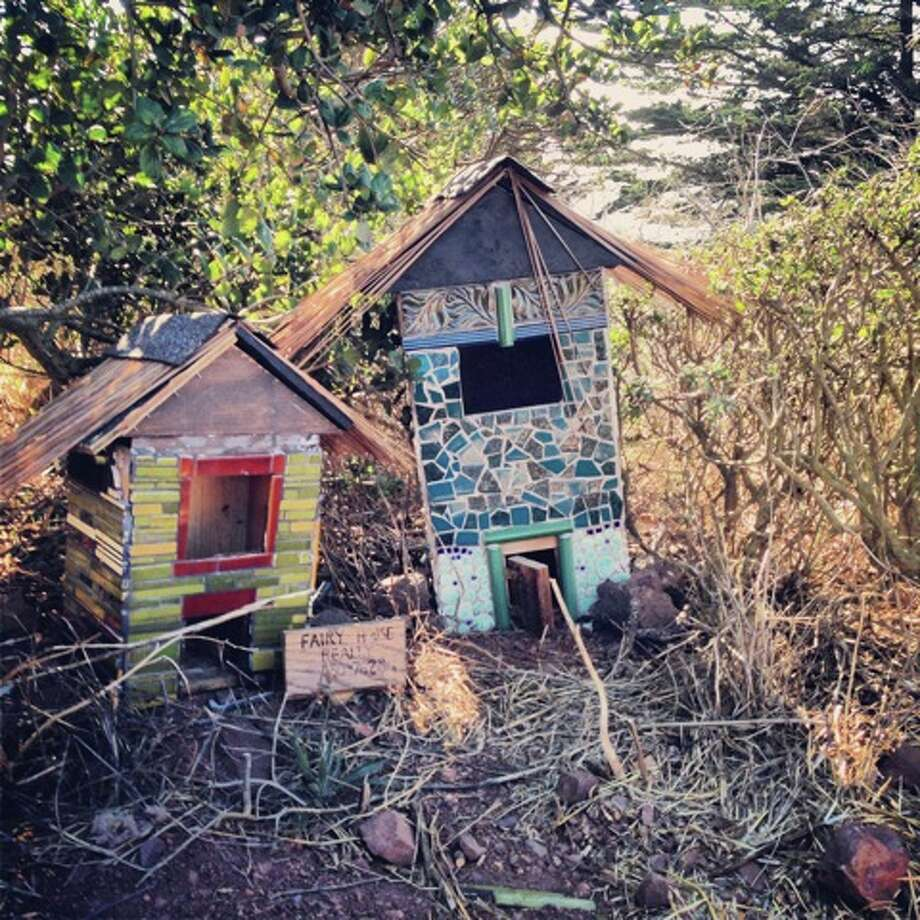 "Kelley Heye  lives in Cow Hollow and took this photo on Bernal Hill. ""I spied the little houses tucked away in the bushes just off the hill,"" she writes. ""They're beautifully made, one can't help but wonder who might live in them. The thought brightened my day."""