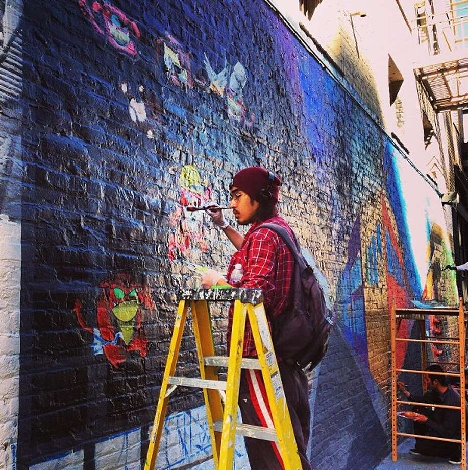 David Reposar took this shot in Mrytle Alley in the Tenderloin of a Mural Restoration Project. He Instagrams at @davidreposar.
