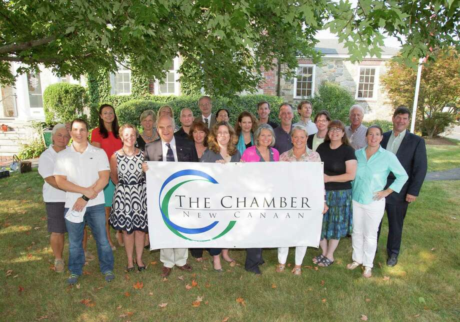 The new board of the New Canaan Chamber of Commerce is, front row from left, Steve Bazewicz, Gail Donovan, Keith Simpson, Jan Kunst, Lisa Corrado, Jenny Esposito, Tucker Murphy, BJ Flagg and Laura Budd. Back row, Shirleen Dubuque, Heather Fusco, Hilary Hotchkiss, Mary Anne Hersam, Brian Lewis, David Van Buskirk, Diane Roth, Elizabeth McCarthy, Lawrence Mannix, Ron Rosenfeld, Alex Stewart, Sheila Torgan, Dale Carbonier and Chris Sigg. Photo: Contributed