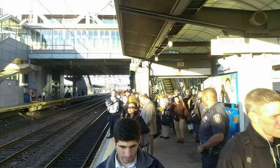 Commuters await trains in Stamford on Tuesday, Oct. 1, 2013 – Day 7 of the Metro-North meltdown. Photo: Joshua O'Connell via Twitter (@jjofriends)