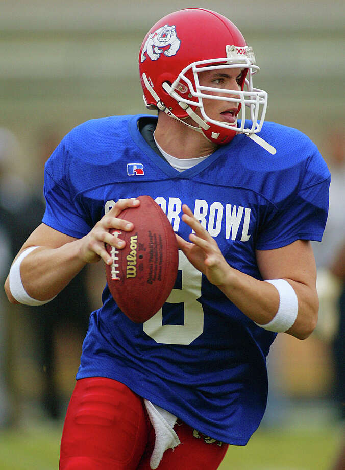 David Carr threw for 4,830 yards and 46 touchdown passes as a senior at Fresno State in 2001 and was drafted by the Texans No. 1 overall in the 2002 NFL draft. Photo: John David Mercer , Associated Press / MOBILE REGISTER