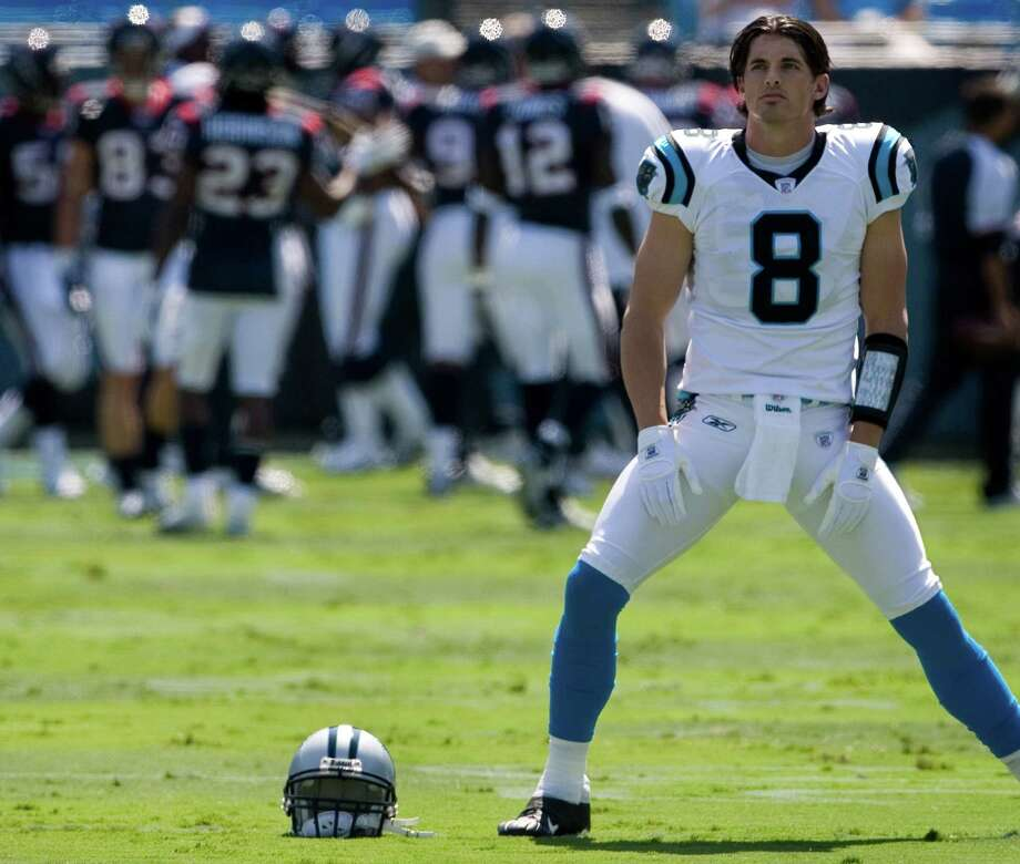 Panthers quarterback David Carr stretches during pre-game warmups before facing his former team, the Texans, on Sept. 16, 2007. Carr did not play that day. Photo: Smiley N. Pool, Houston Chronicle / Houston Chronicle