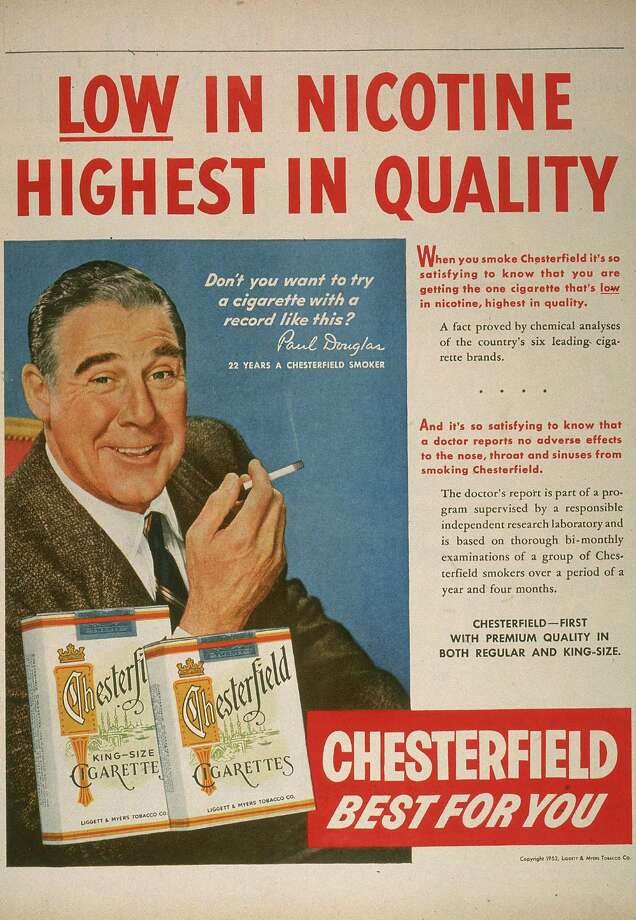 1953: Illustrated magazine advertisement featuring actor Paul Douglas for Chesterfield cigarettes.  Photo: Blank Archives, Getty Images / Archive Photos