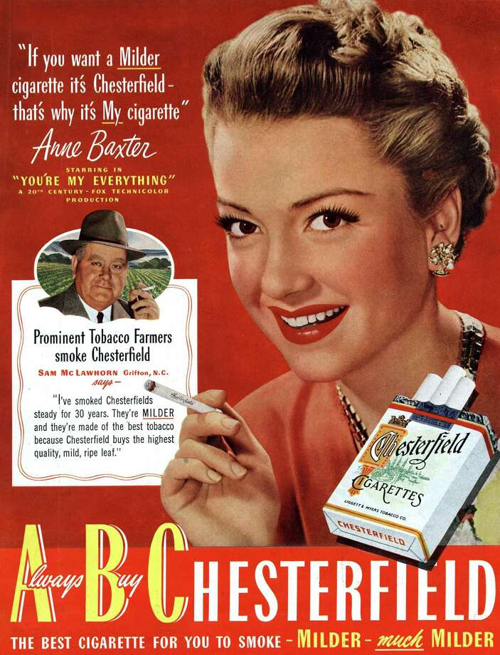 Anne Baxter posing for advertising for Chesterfield, published in American magazine Saturday Evening Post, July 1949. Photo: Apic, Getty Images / ©APIC