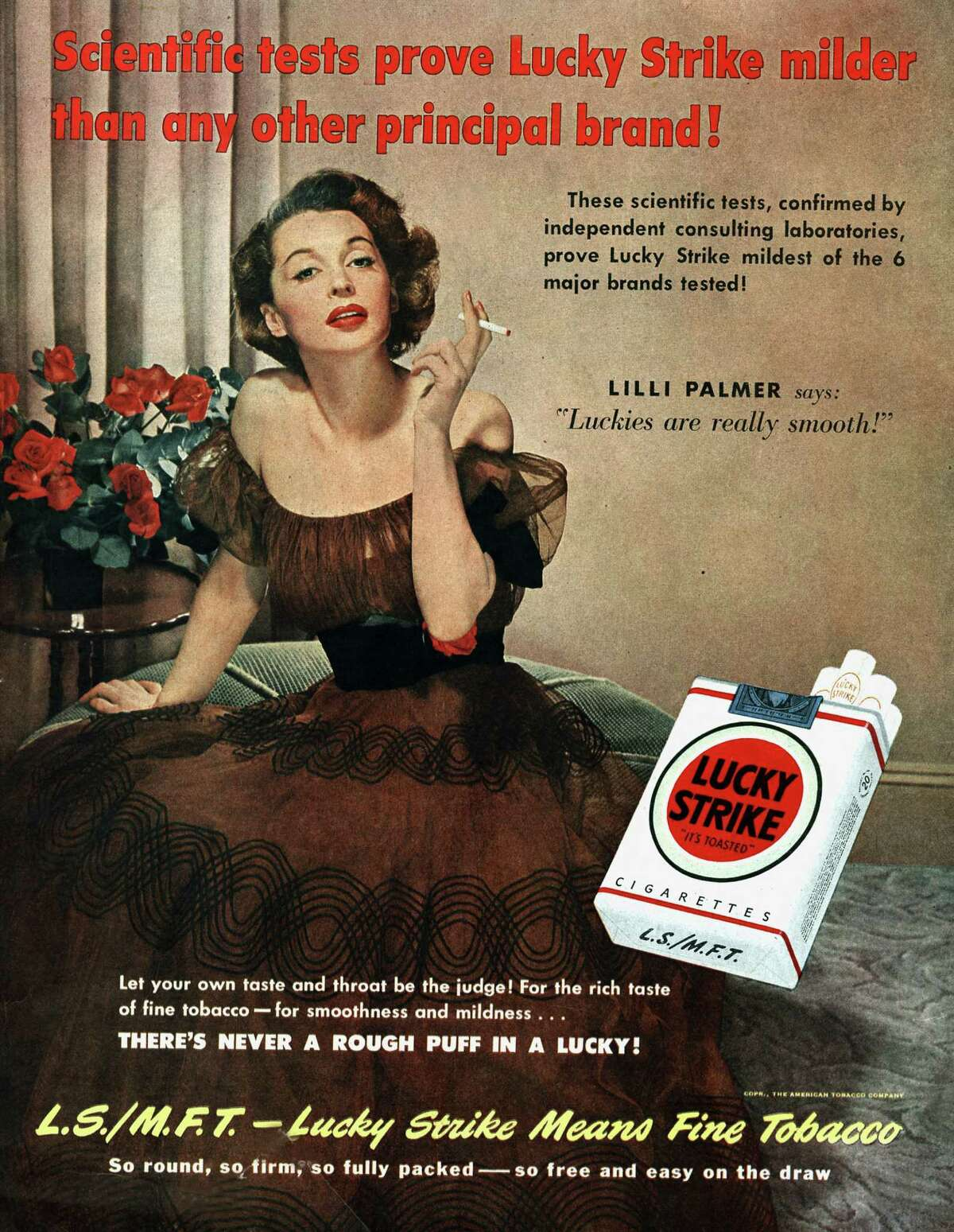 >> VINTAGE CIGARETTE ADS THROUGH THE YEARS Lilli Palmer posing for advertising for Lucky Strike, published in American magazine Saturday Evening Post, June 1950.