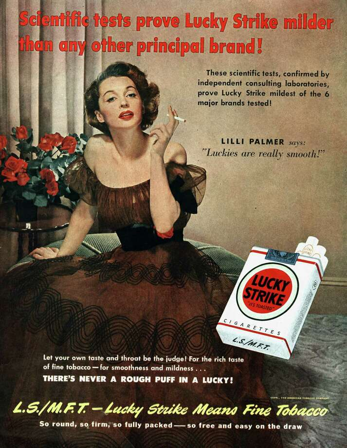 Lilli Palmer posing for advertising for Lucky Strike, published in American magazine Saturday Evening Post, June 1950. Photo: Apic, Getty Images / ©APIC