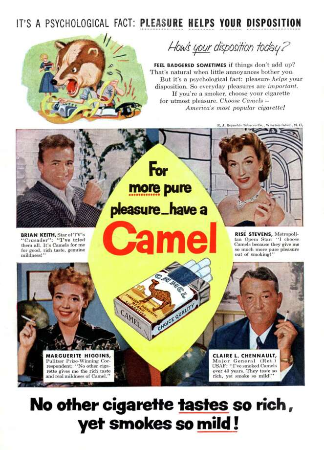 Advertisement for Camel cigarettes with actor Brian Keith, opera singer Rise Stevens, writer Marguerite Higgins, General Claire L. Chennault, May 1956. Photo: Apic, Getty Images / ©APIC