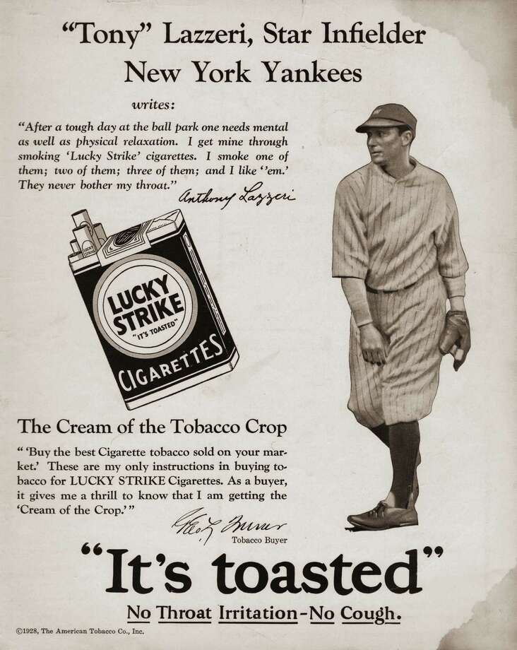 Tony Lazzeri of the New York Yankees finds Lucky Strike cigarettes relaxing, in this 1925 magazine ad.   Photo: Transcendental Graphics, Getty Images / 2006 Mark Rucker/Transcendental Graphics