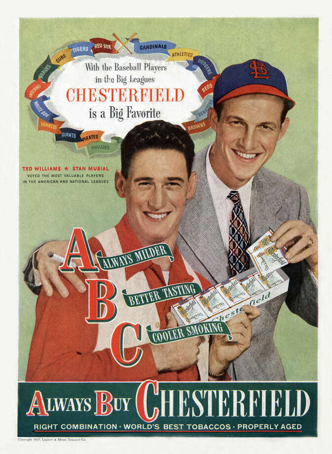 Back cover of The New Yorker, 10 May 1947 shows Ted Williams and Stan Musial advertising Chesterfield. Photo: Apic, Getty Images / ©APIC