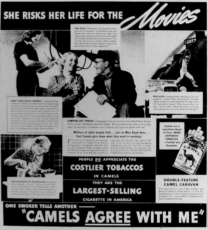 1938: Movie stunt girl Ione Reed selling Camel cigarettes advertisements. Photo: San Antonio Express-News File Photo
