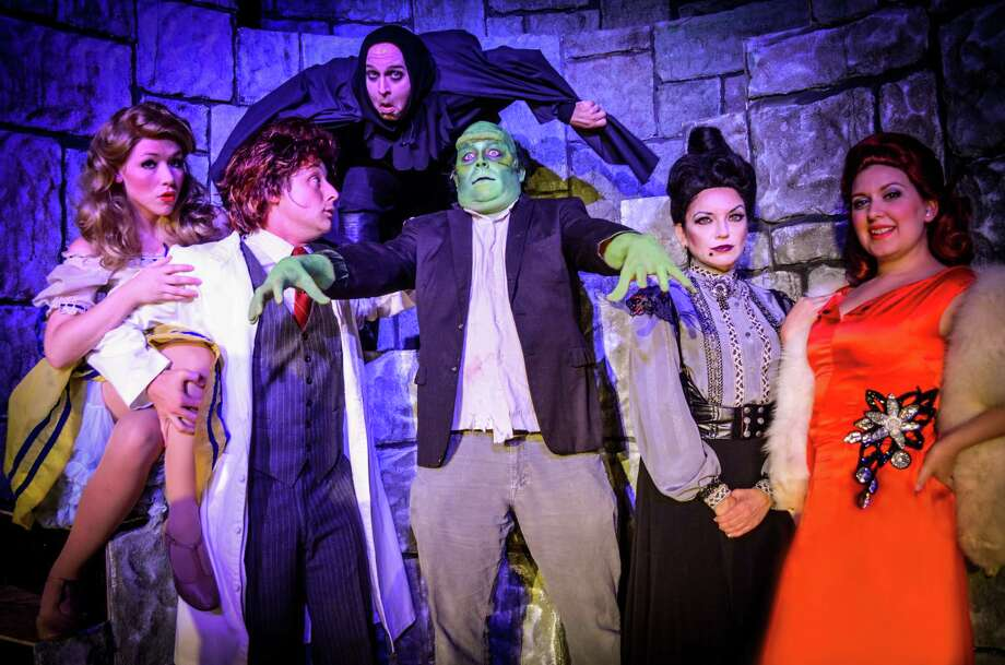 "Kate Miller, Walter Songer, Ben Scharff, Michael Benson, Melissa Gonzalez and Amanda Golden star in ""Young Frankenstein"" at the Woodlawn Theatre. Photo: Courtesy Andrea Madeline Medina"