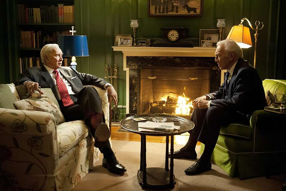 Frank Langella (left) as Warren Burger and Christopher Plummer as John Harlan II debate Muhammad Ali's appeal. Photo: Jojo Whilden, HBO