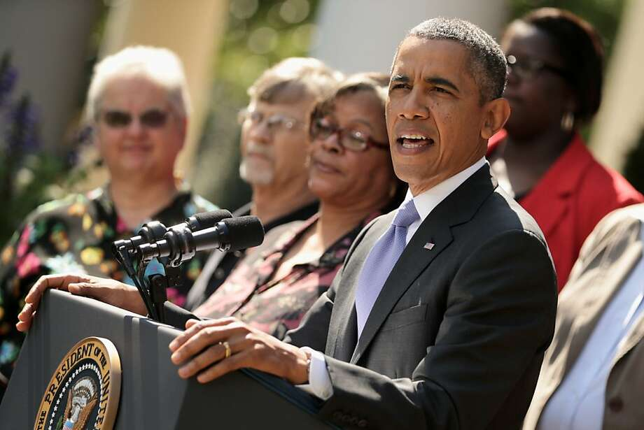 "President Barack Obama delivers remarks about the launch of the Affordable Care Act's health insurance marketplaces and the first federal government shutdown in 17 years as he's joined by Americans who will benefit from the Affordable Care Act in the Rose Garden of the White House October 1, 2013 in Washington, DC. House Republicans and Senate Democrats continue to volley legislation back and forth as they battle over a budget to keep the government running and delaying or defunding ""Obamacare.""  Photo: Chip Somodevilla, Getty Images"