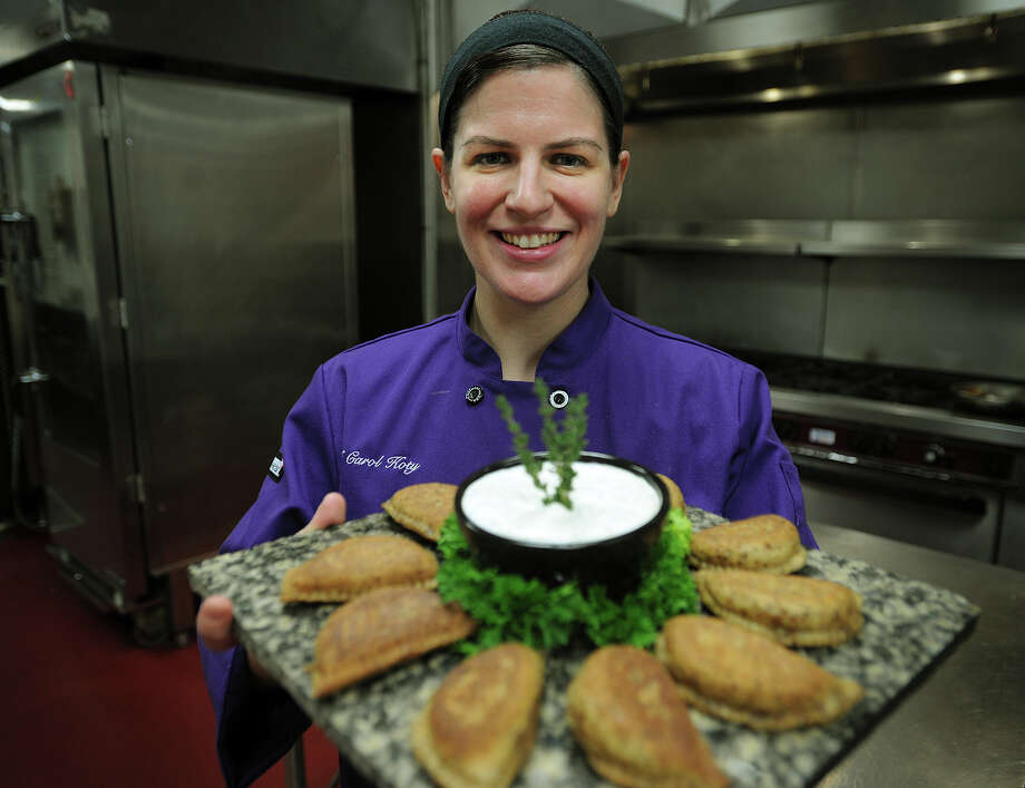 Chef Carol Koty, of Stratford, will enter her signature Triple Bacon Polish Pierogies in the new bacon category at the World Food Championships in Las Vegas in November, at The Waterview in Monroe on Tuesday, October 1, 2013. Photo: Brian A. Pounds / Connecticut Post