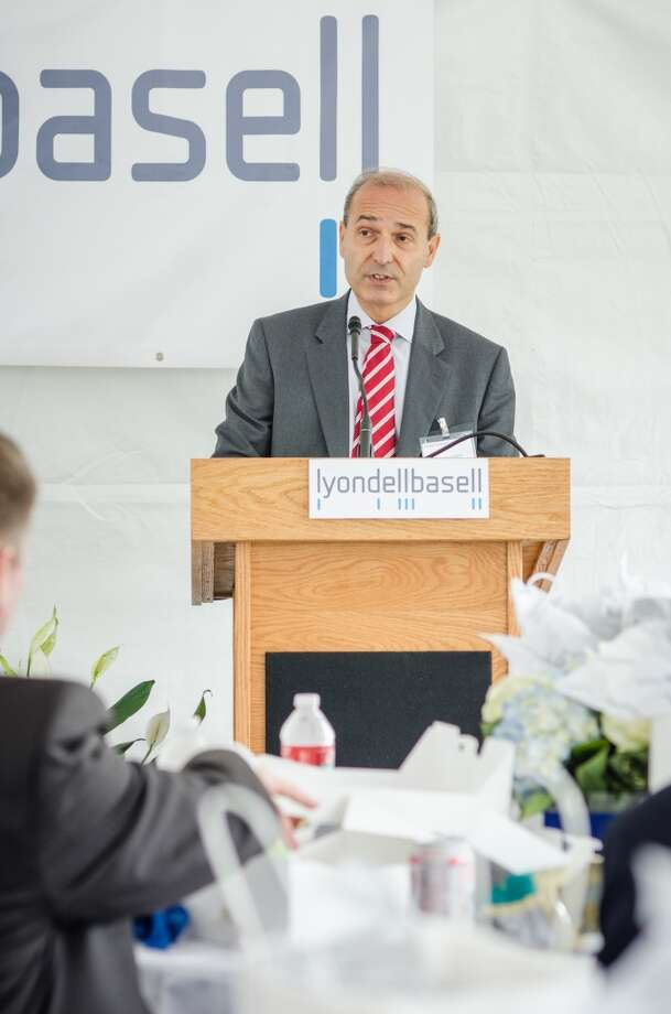Massimo Covezzi, senior vice president and head of research and development, speaks during the opening of LyondellBasell's Houston Technology Center. Photo: Jamaal Ellis, For The Chronicle