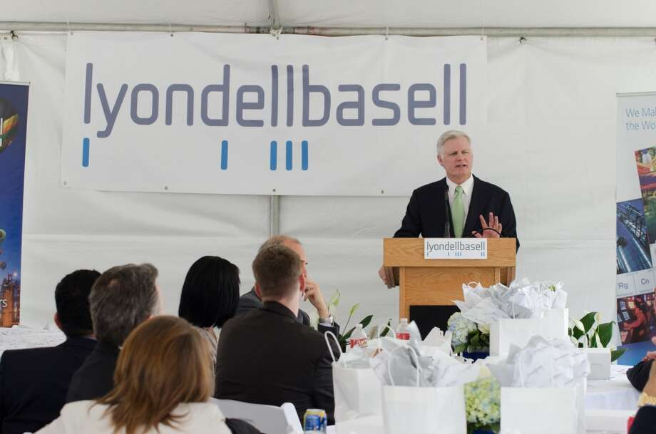 Jim Gallogly, CEO of Lyondellbasell, speaks during the opening of Lyondellbasell's Houston Technology Center on Monday, 30 September 2013 in Channelview TX Photo: Jamaal Ellis, For The Chronicle