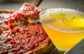 """The """"Port"""" deep dish pizza with the 1943 cocktail at the Star in Oakland, Calif., is seen on Thursday, September 5th, 2013."""