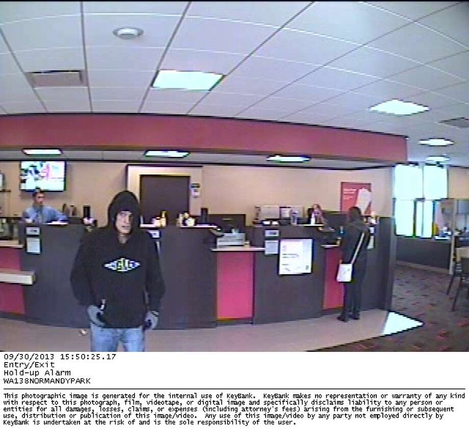 The King County Sheriff's Office is looking for this man, accused of robbing a Burien Key Bank twice in September.
