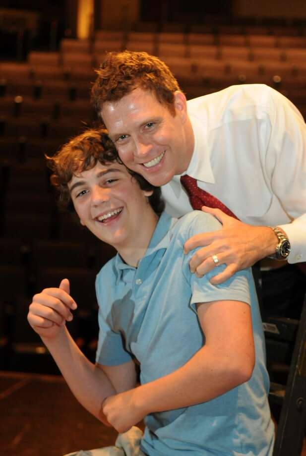 "Justin Doran, star of Main Street Theater's production of ""The Real Thing,"" and son Ty, a 15-year-old sophomore at The Kinkaid School, both share the acting bug. But the dad, who is the school's theater manager, makes sure not to direct any shows his son is in. Photo: Jerry Baker, Freelance"