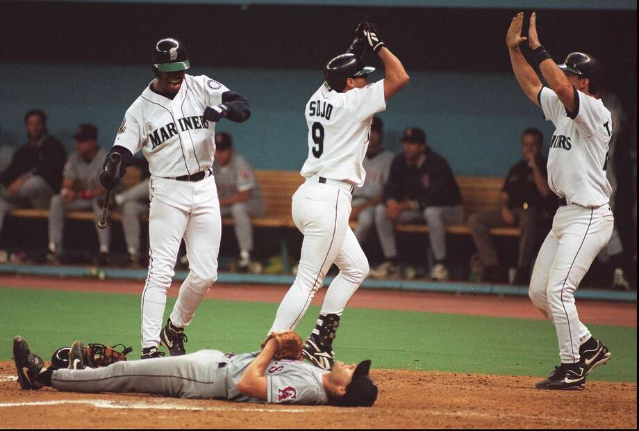 """4.It looked like yet another lost season for the 1995 Mariners when they were 12.5 games back in the A.L. West as late as Aug. 20, with the postseason looming at the end of September. But as we all know, the '95 M's """"refused to lose."""" Bolstered by the return of Ken Griffey Jr. from injury, Seattle surged from out of nowhere and won 26 of their remaining 38 games to force a one-game divisional playoff with the California Angels. Seattle powered through the Halos 9-1 and earned their first postseason appearance in franchise history, going on to beat the Yankees in the ALDS before falling in six games to the Indians in the ALCS. Photo: Grant M. Haller/Seattle P-I Archives"""