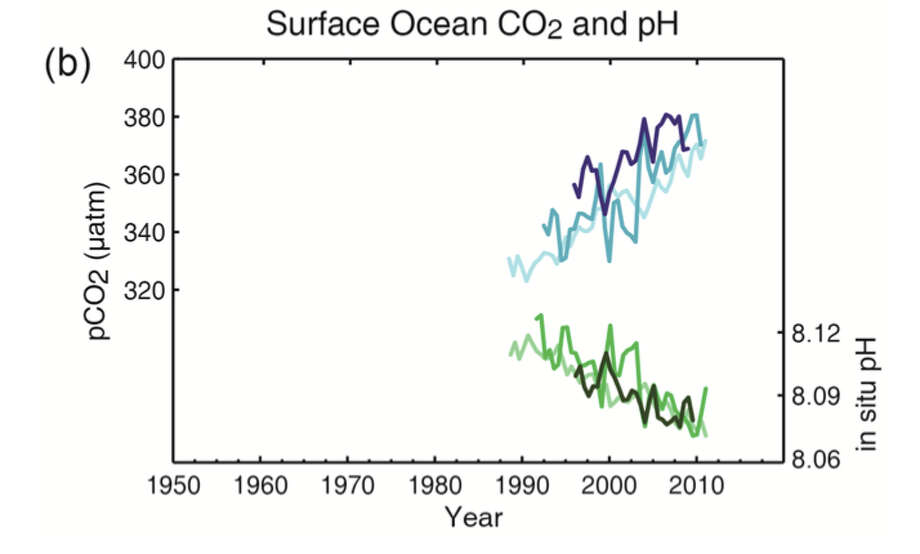 Multiple observed indicators of a changing global carbon cycle: (b) partial pressure of dissolved CO2 at the ocean surface (blue curves) and in situ pH (green curves), a measure of the acidity of ocean water. Measurements are from three stations from the Atlantic (29°10′N, 15°30′W – dark blue/dark green; 31°40′N, 64°10′W – blue/green) and the Pacific Oceans (22°45′N, 158°00′W − light blue/light green). 