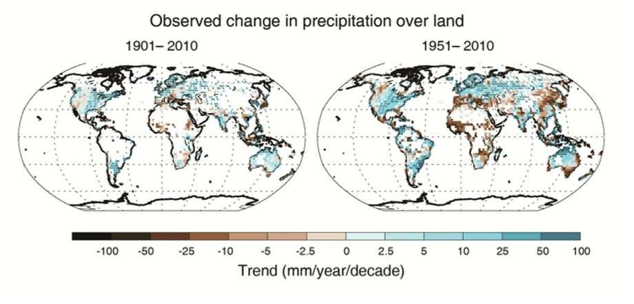 Maps of observed precipitation change from 1901 to 2010 and from 1951 to 2010 (trends calculated using the same criteria as in Figure SPM.1b) from one data set. For further technical details see the Technical Summary Supplementary Material. 