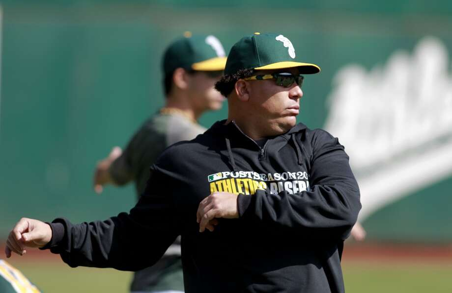 A's pitcher Bartolo Colon stretches during workouts, on Tuesday Oct. 1, 2013, in Oakland, Calif. at O.co Coliseum as the Oakland Athletics get ready for their divisional series against the Detroit Tigers. Photo: The Chronicle