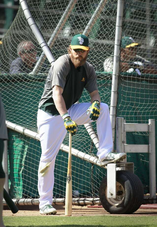 A's Josh Reddick, waits to take batting practice, on Tuesday Oct. 1, 2013, in Oakland, Calif. at O.co Coliseum as the Oakland Athletics get ready for their divisional series against the Detroit Tigers. Photo: The Chronicle