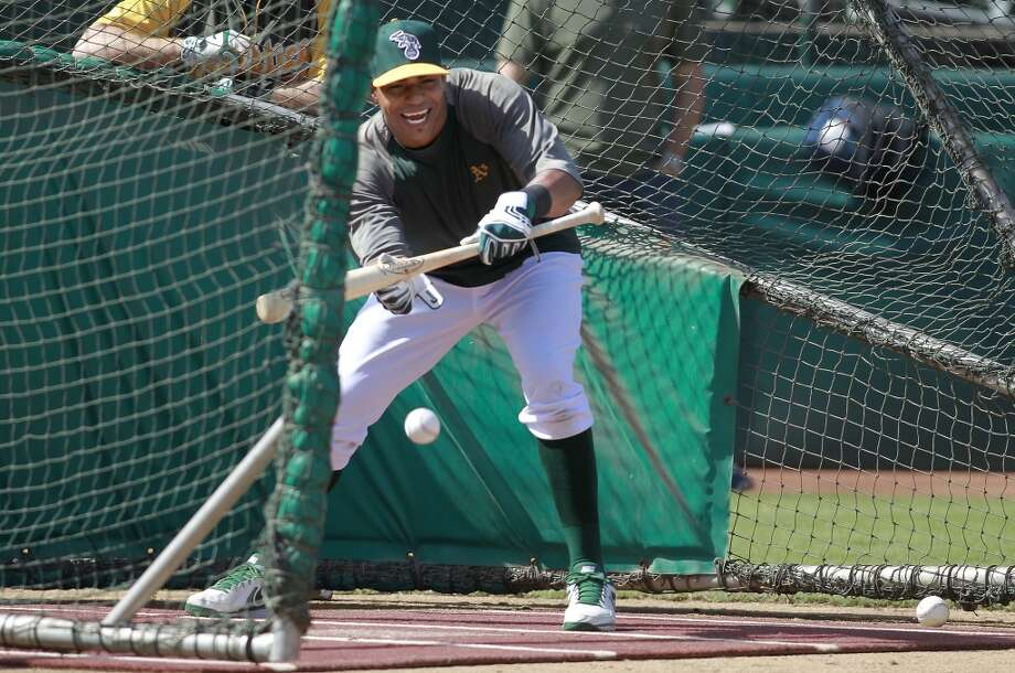 A's slugger Yoenis Cepedes, taking batting practice, on Tuesday Oct. 1, 2013, in Oakland, Calif. at O.co Coliseum as the Oakland Athletics get ready for their divisional series against the Detroit Tigers Photo: The Chronicle