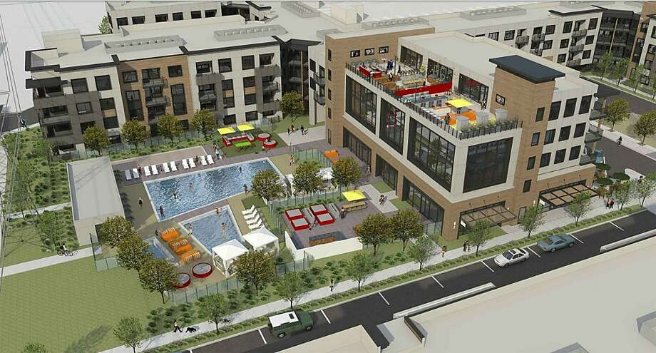 The 394-unit Menlo Park complex is planned by Facebook and developer St. Anton Partners. Photo: KTYG Group