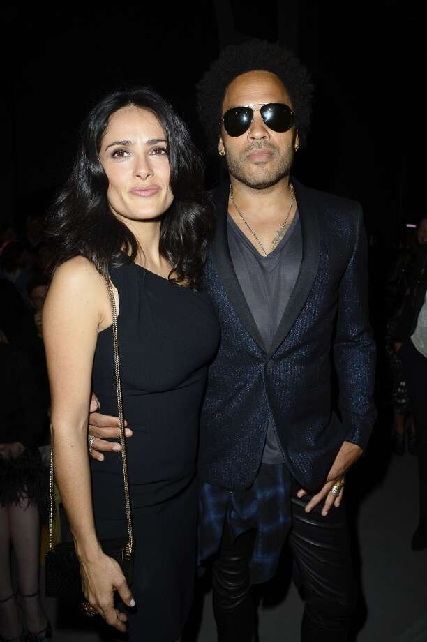Salma Hayek and Lenny Kravitz attend the Saint Laurent show as part of the Paris Fashion Week Womenswear  Spring/Summer 2014 on September 30, 2013 in Paris, France.  (Photo by Pascal Le Segretain/Getty Images) Photo: Pascal Le Segretain, Getty Images