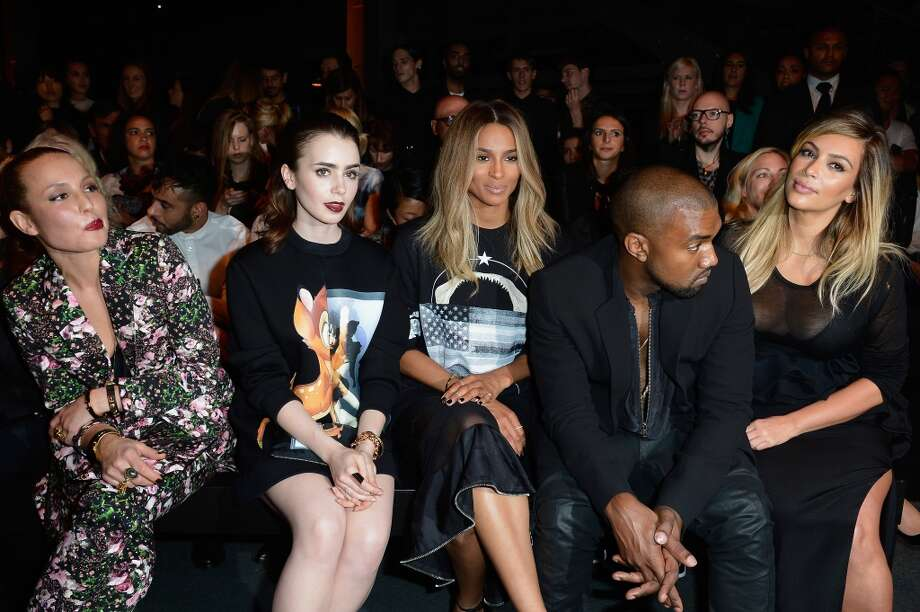 Actresses Noomi Rapace, Lily Collins, singer Ciara, Kanye West and Kim Kardashian attend the Givenchy show as part of the Paris Fashion Week Womenswear  Spring/Summer 2014 on September 29, 2013 in Paris, France.  (Photo by Pascal Le Segretain/Getty Images) Photo: Pascal Le Segretain, Getty Images